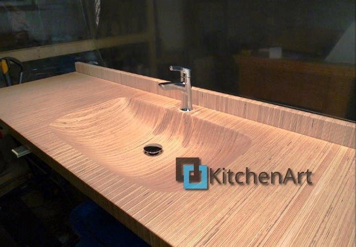 stoleshnica v vannuju 14 - Столешницы из дерева в ванную под заказ