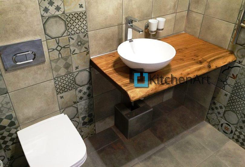 stoleshnica v vannuju 16 - Столешницы из дерева в ванную под заказ