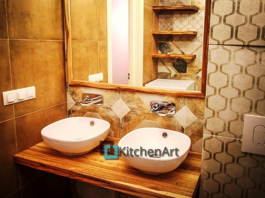 stoleshnica v vannuju 2 - Столешницы из дерева в ванную под заказ