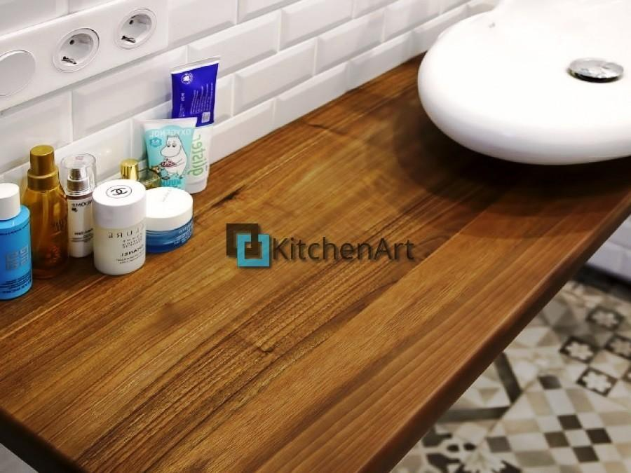 stoleshnica v vannuju 4 - Столешницы из дерева в ванную под заказ